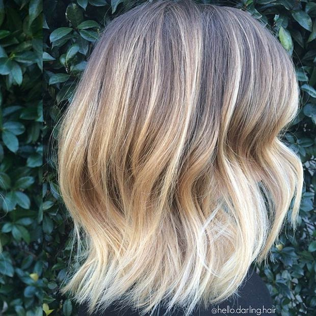 BLONDE LOB WITH DARK ROOTS