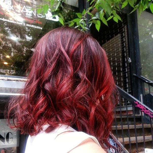 DARK RED LOB + LIGHT RED HIGHLIGHTS
